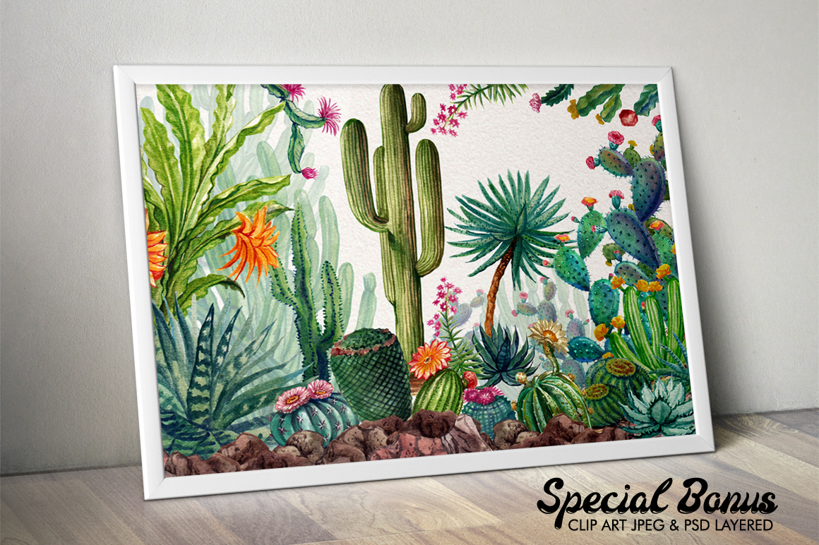 Watercolor Cactuses example image 8