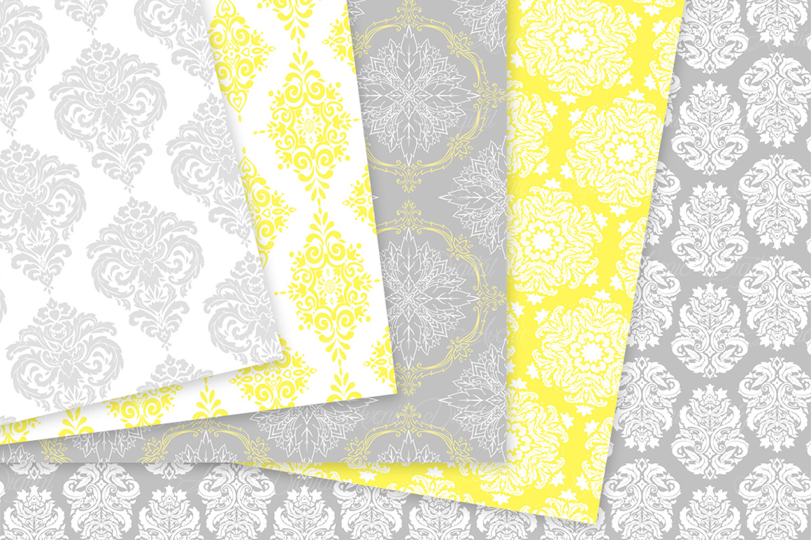 28 Yellow and Gray Damask Patterns - Seamless Digital Papers Bundle example image 6