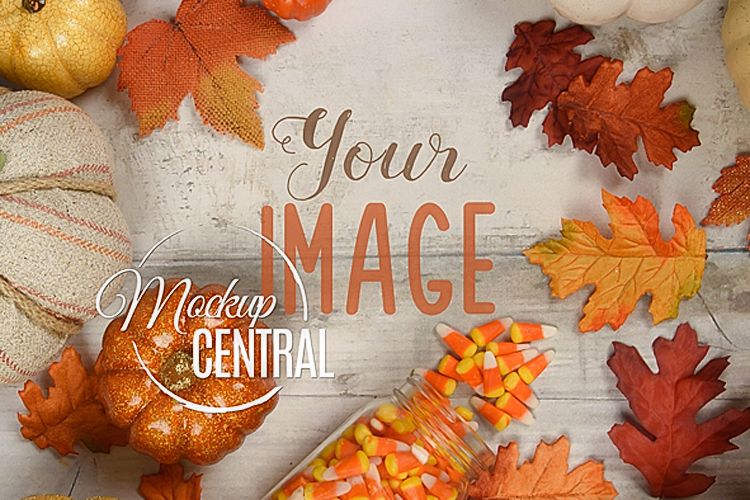 Halloween Fall Background Tabletop Mock Up, JPG Mockup example image 1