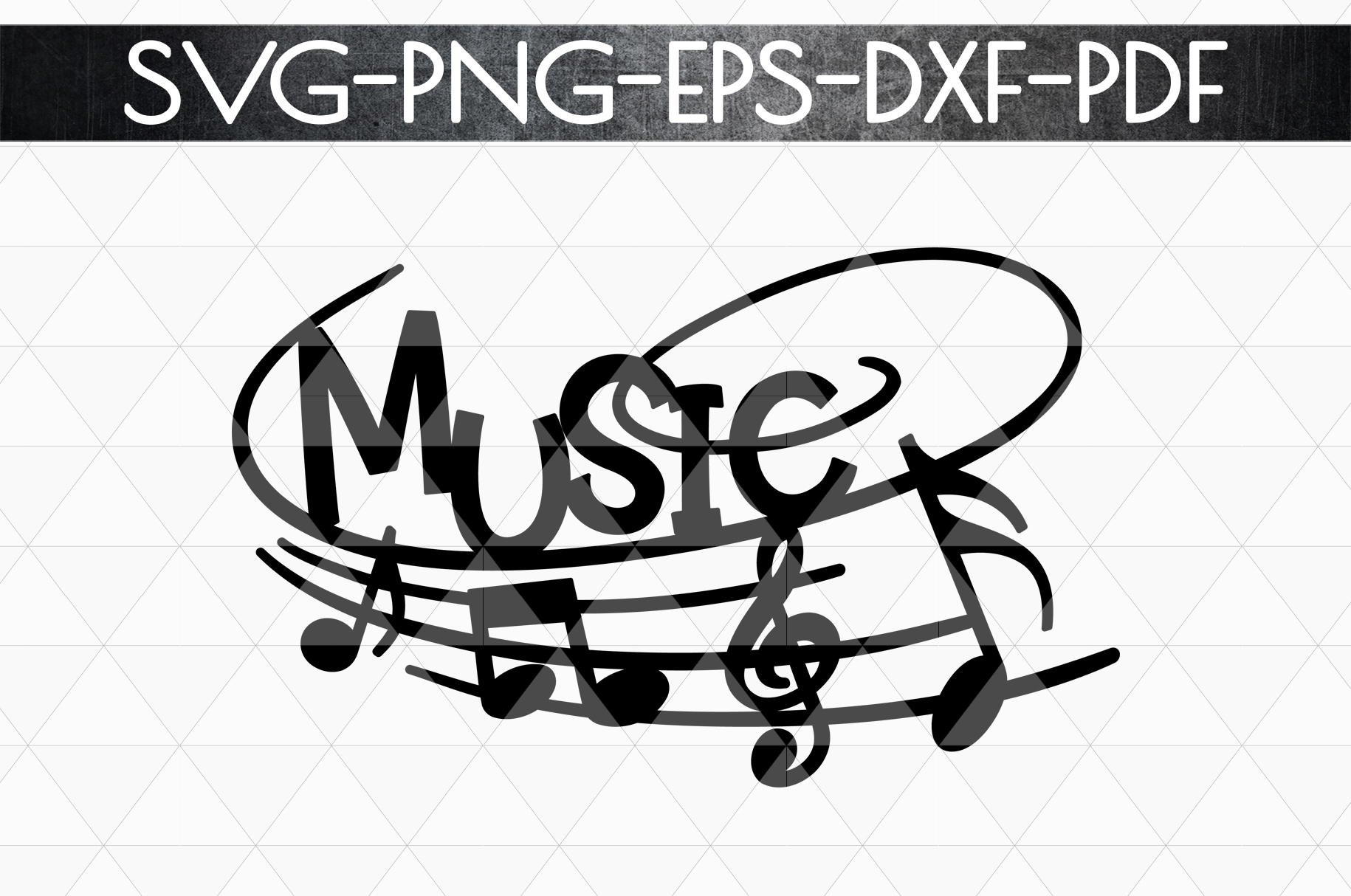 Music Sign Papercut Template, Treble Clef, Musical SVG, DXF example image 4