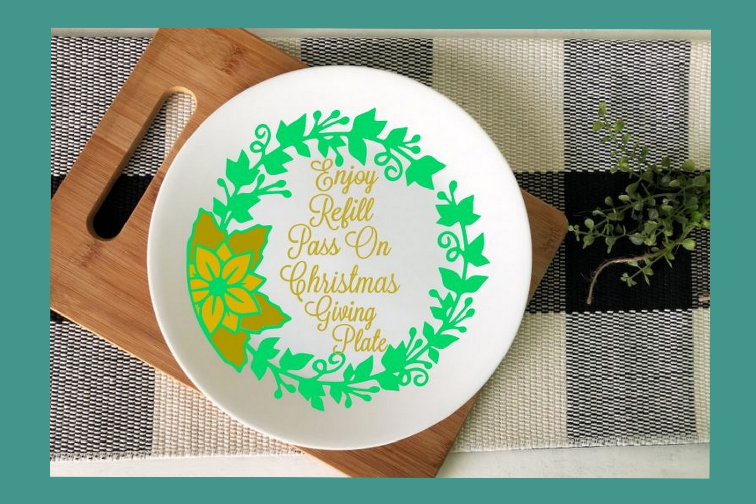 SVG Cut File Christmas Giving Plate Design #05 example image 4