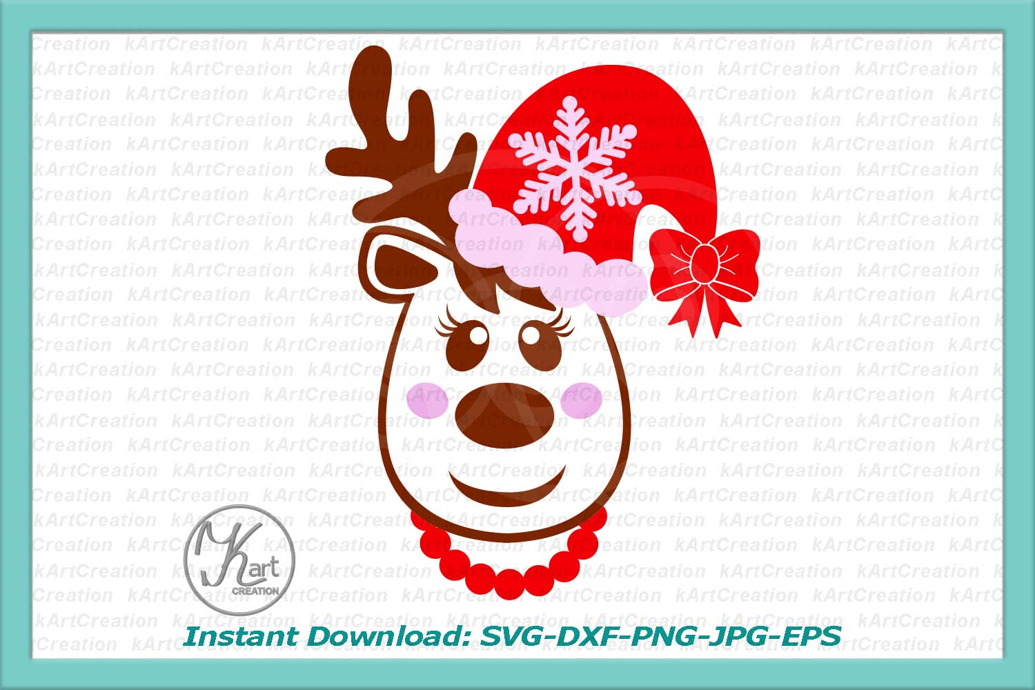 Christmas Reindeer in Santa hat with bow girl toddler svg example image 3