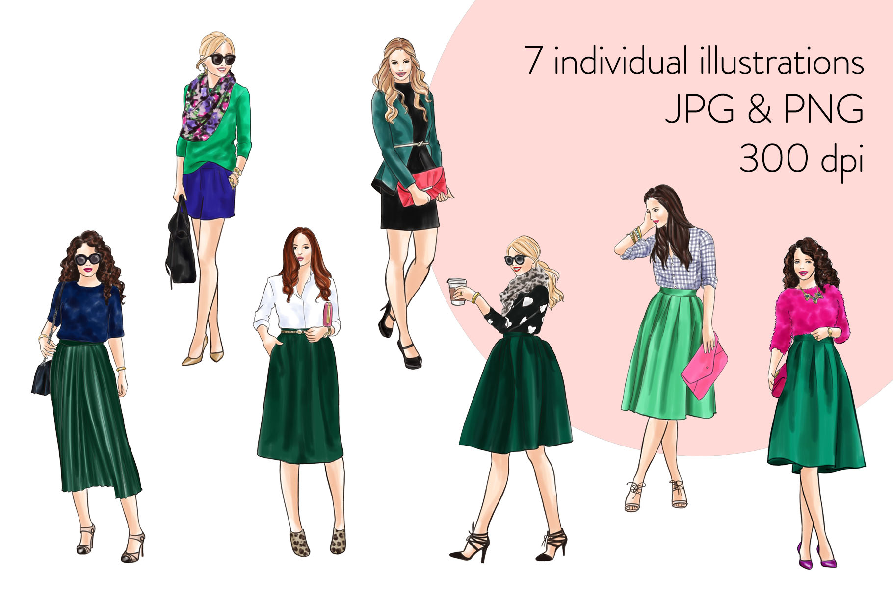 Fashion illustration clipart - Girls in Green 2 - Light Skin example image 2