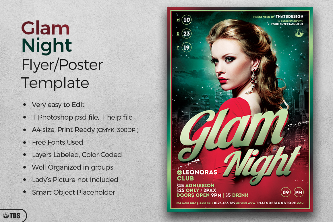 Glam Night Flyer Template example image 2