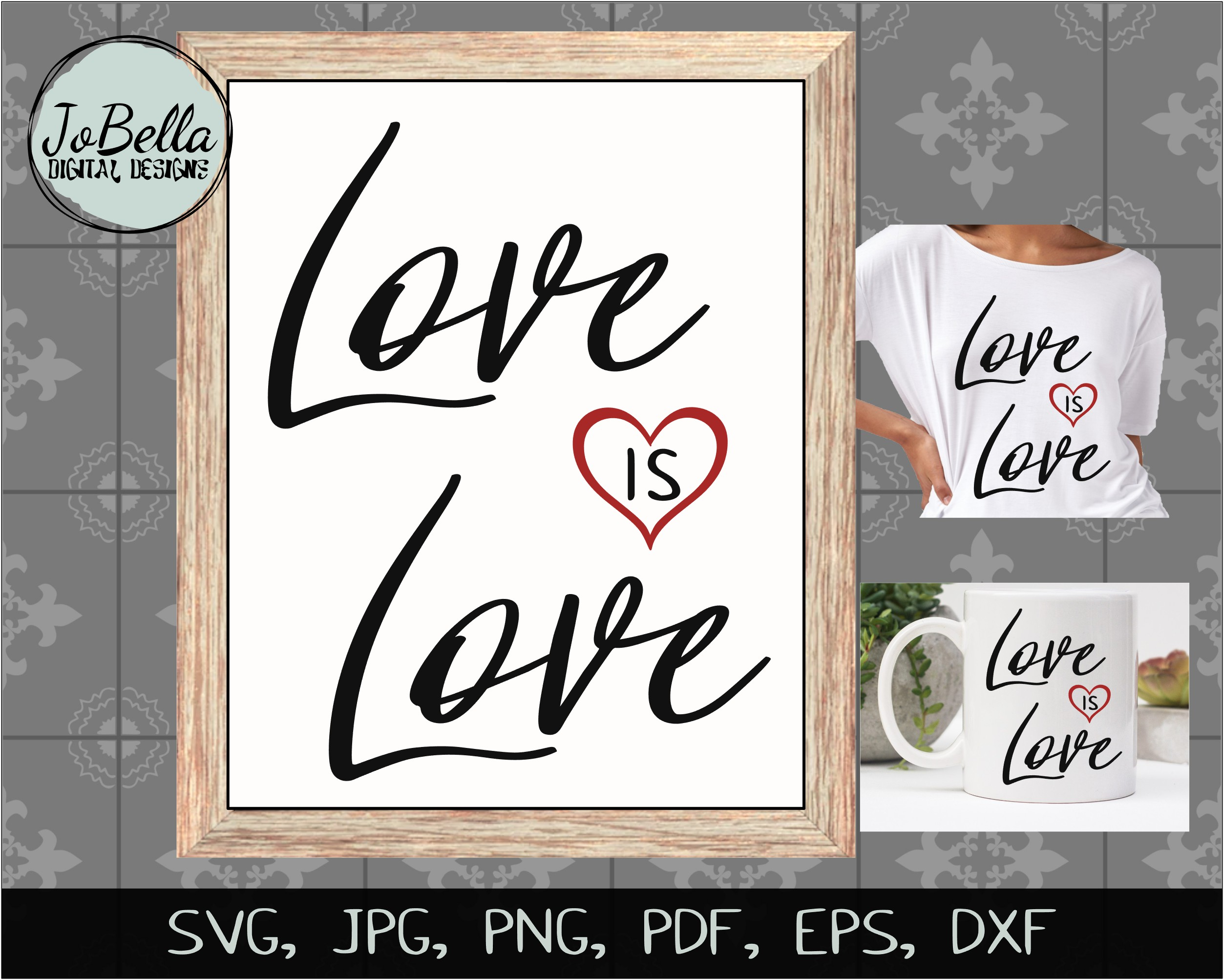 Love Is Love SVG, Sublimation PNG and Printable Design example image 2