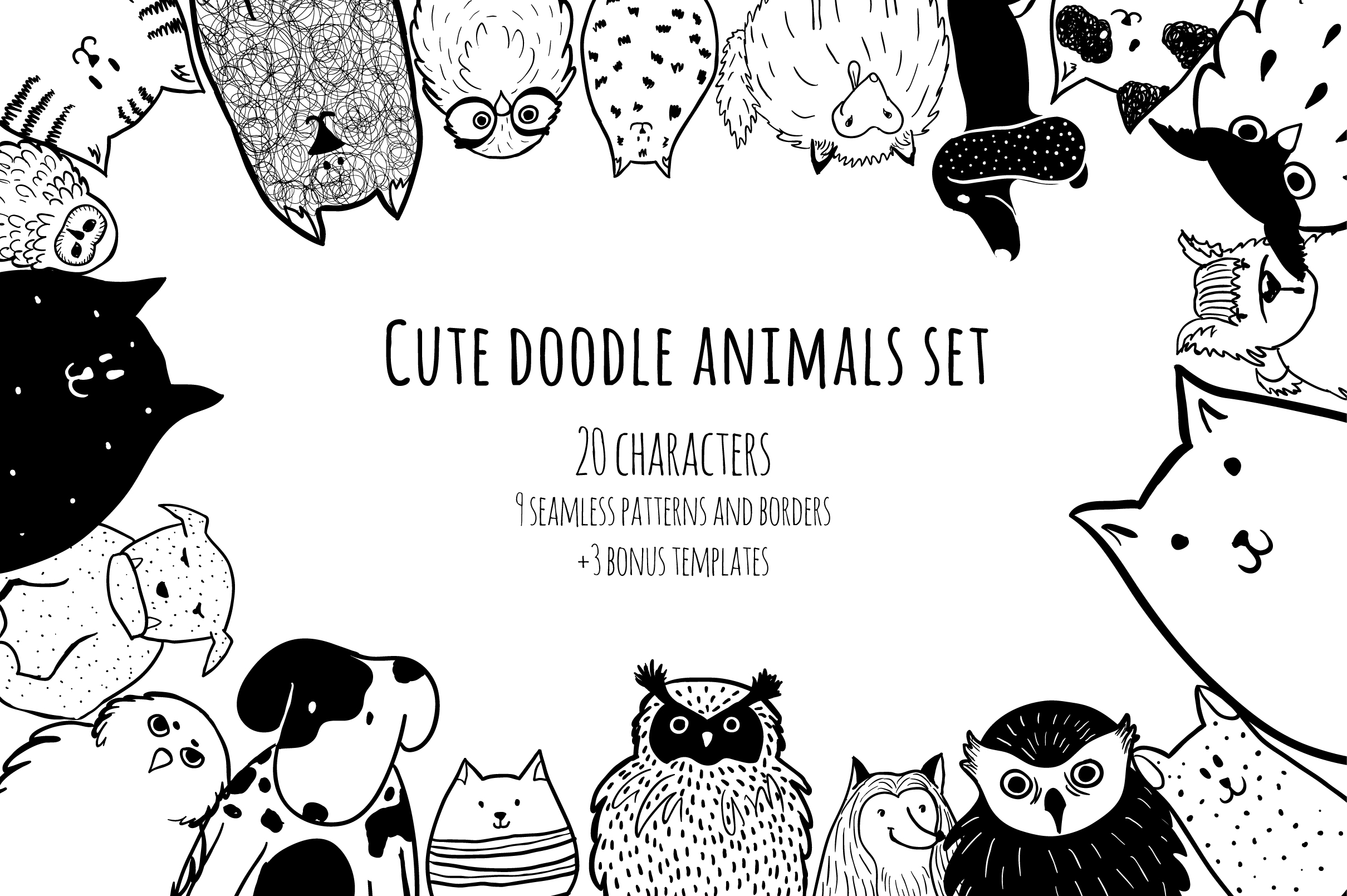 Cute doodle animals set example image 1