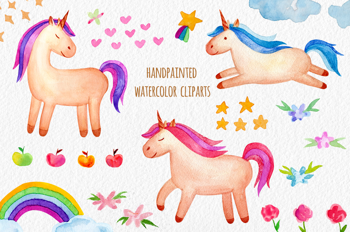 Watercolor Unicorn Set. Seamless Patterns, Clipart example image 2