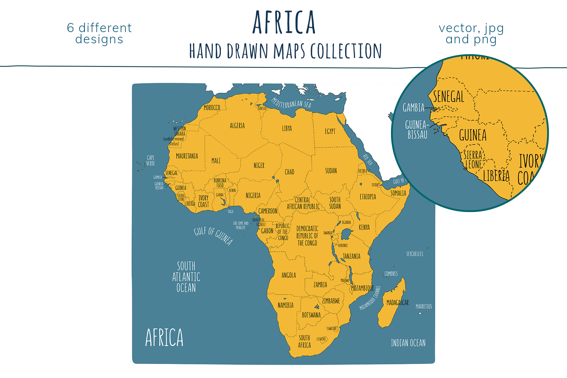 Maps of Africa. Hand drawn collection example image 5
