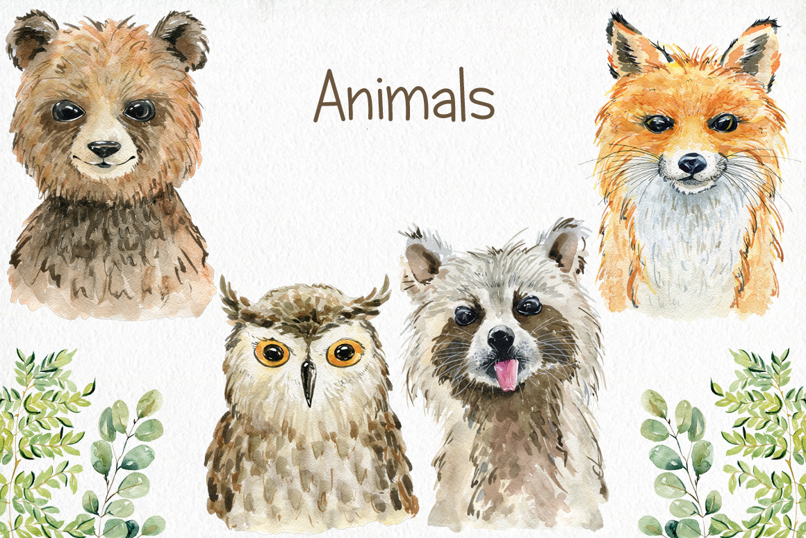 Woodland Animals. Watercolor set. example image 2