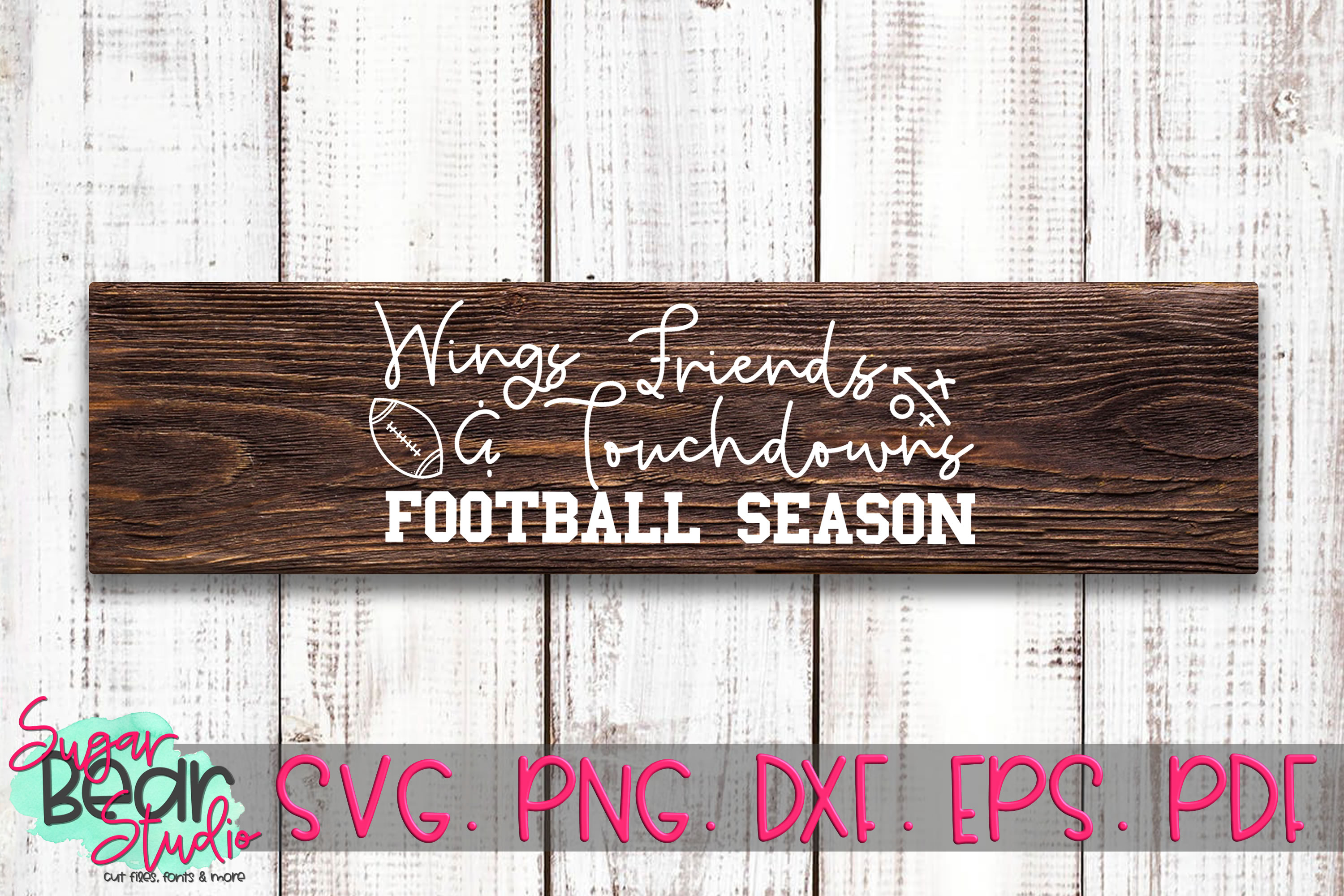 Wings Friends & Touchdowns Football Season - A Football SVG example image 2