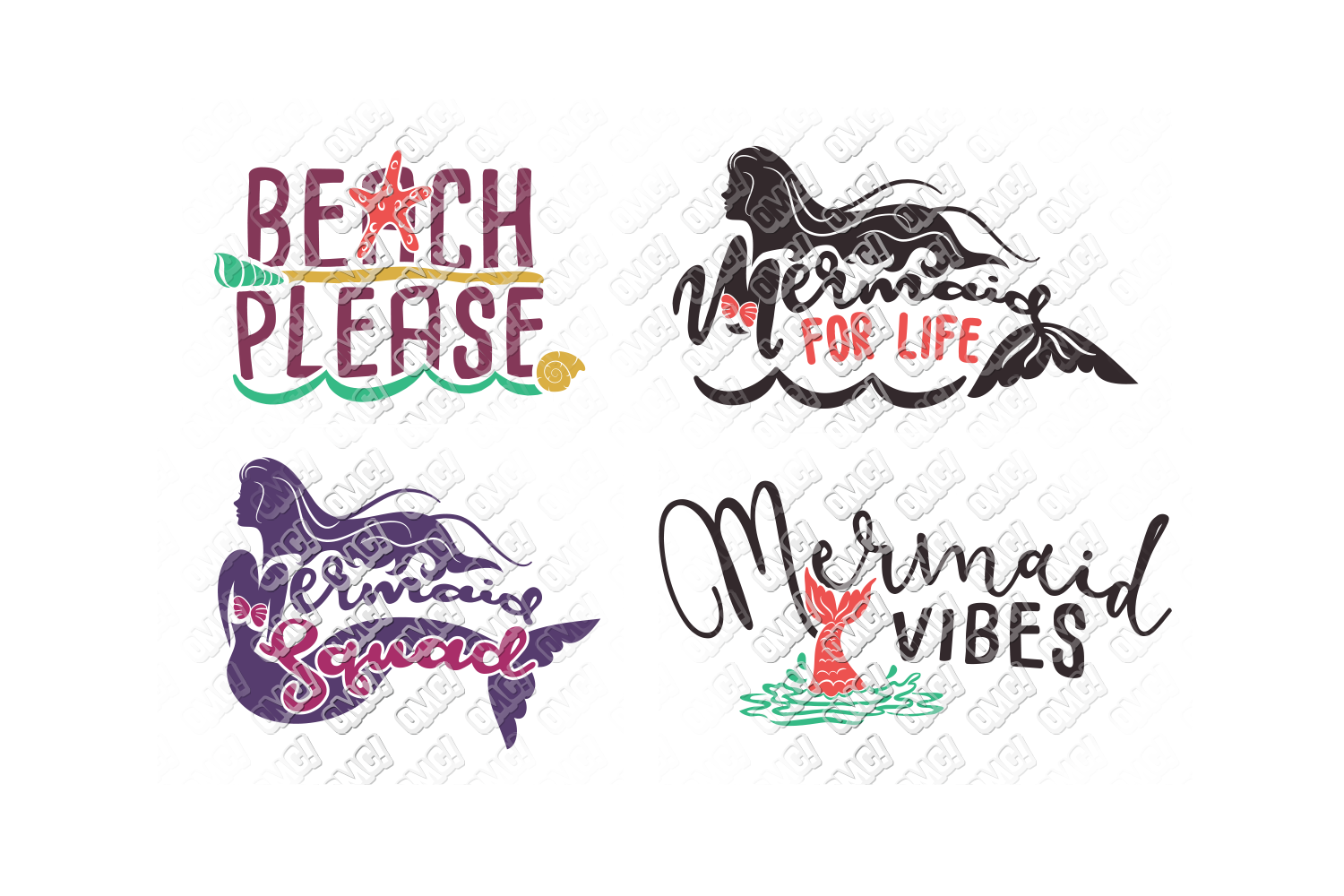 Mermaid SVG Bundle Quotes Sayings Monogram in SVG/DXF/PNG/JP example image 5
