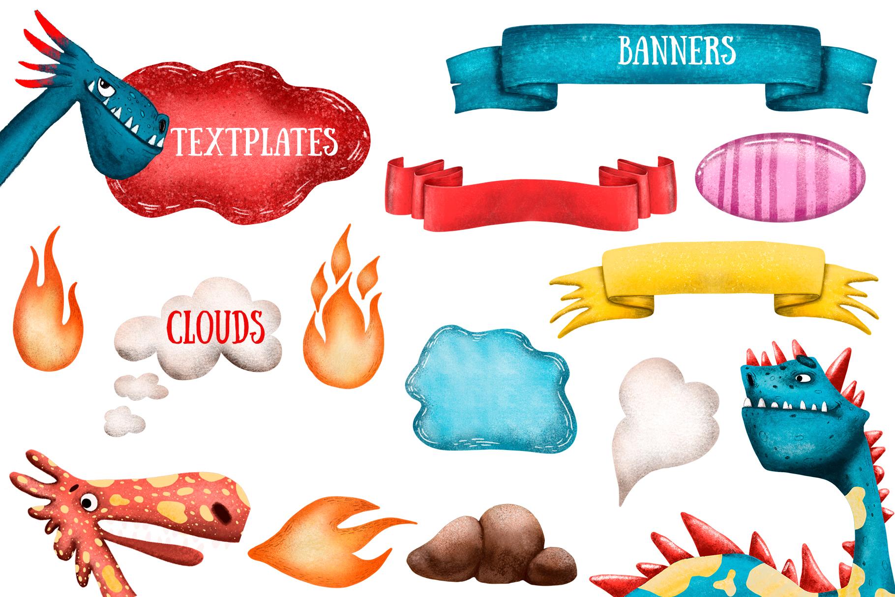 Cute Dragons - Clip Art Set example image 3