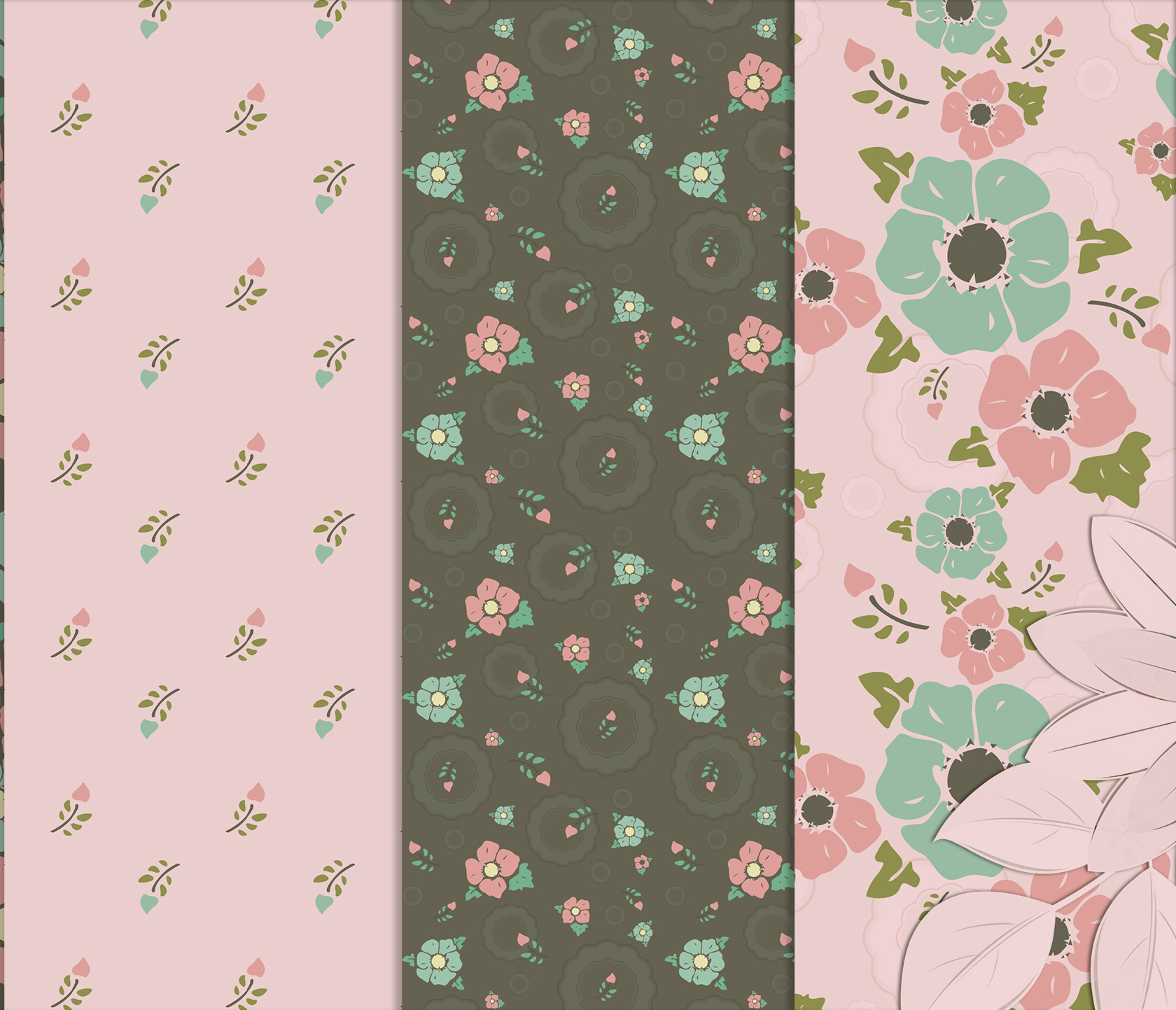 Vintage flowers, Gray and Pink Digital Paper example image 3