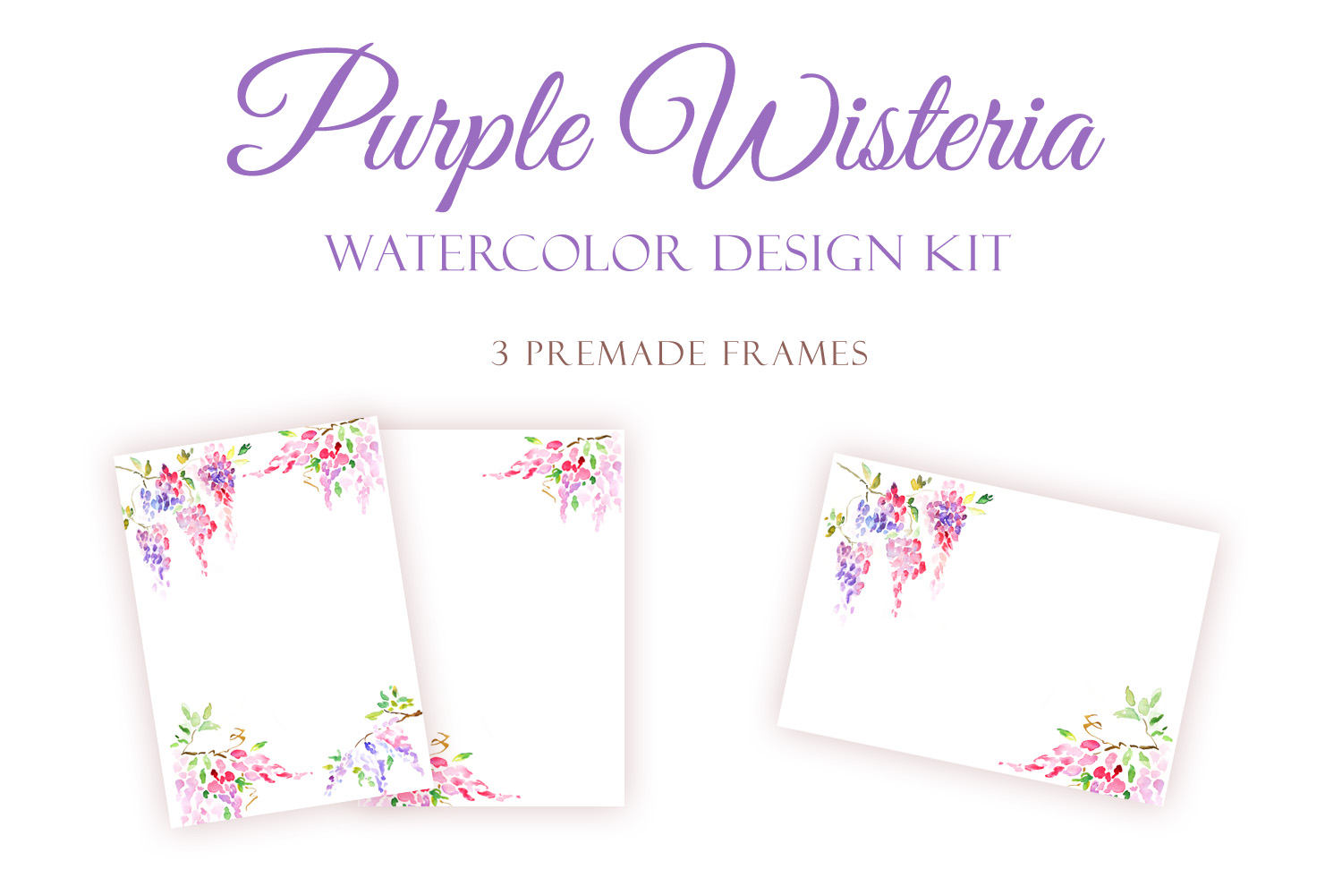 Watercolor Purple Wisteria - Handmade clipart and design kit  example image 2