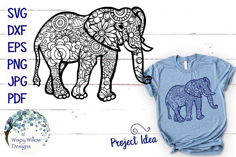 Elephant Zentangle SVG example image 1