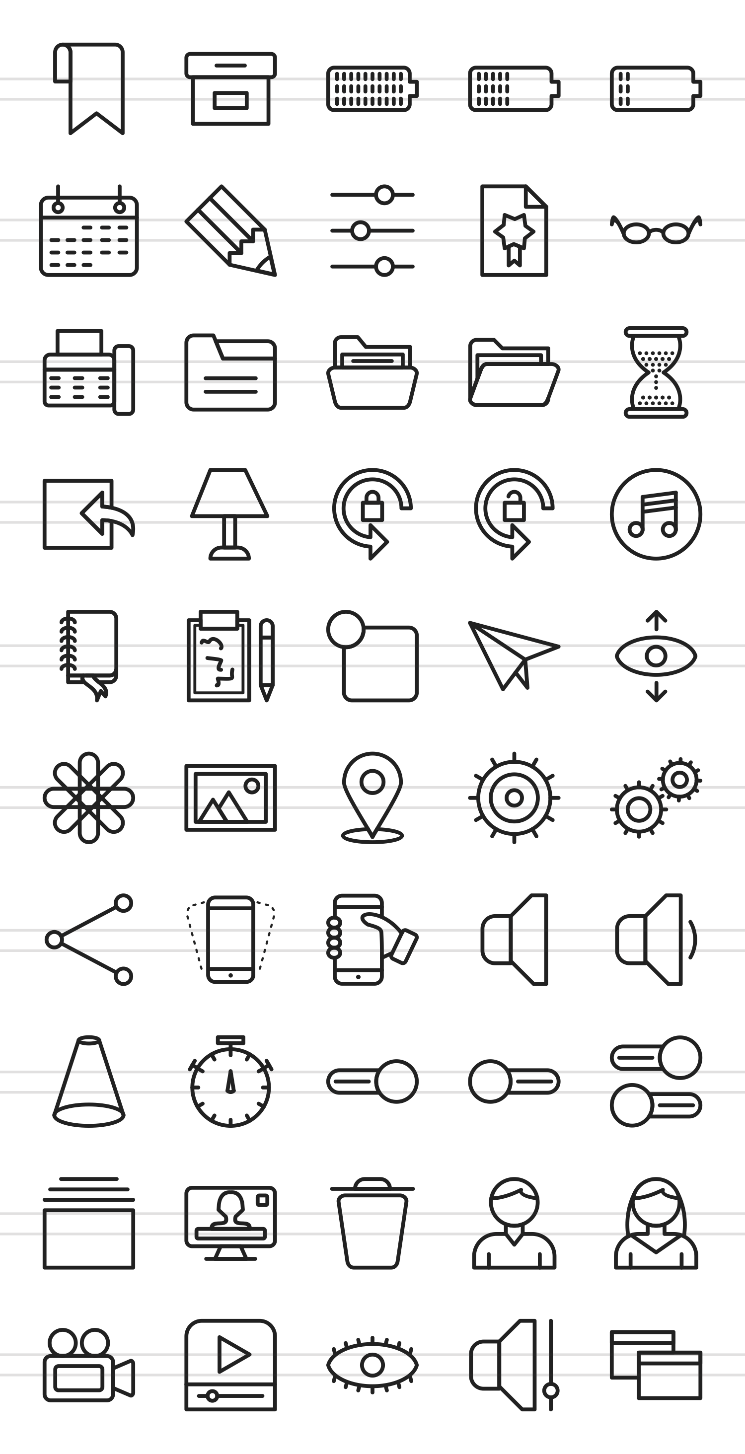 50 Web Interface Line Icons example image 2