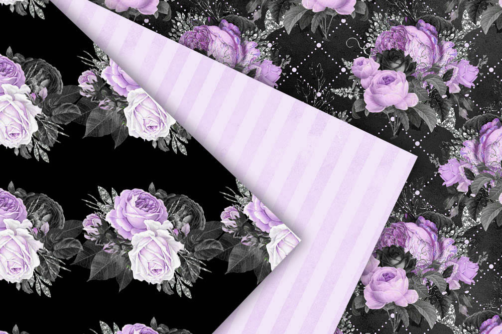 Black Purple and Silver Digital Paper example image 3