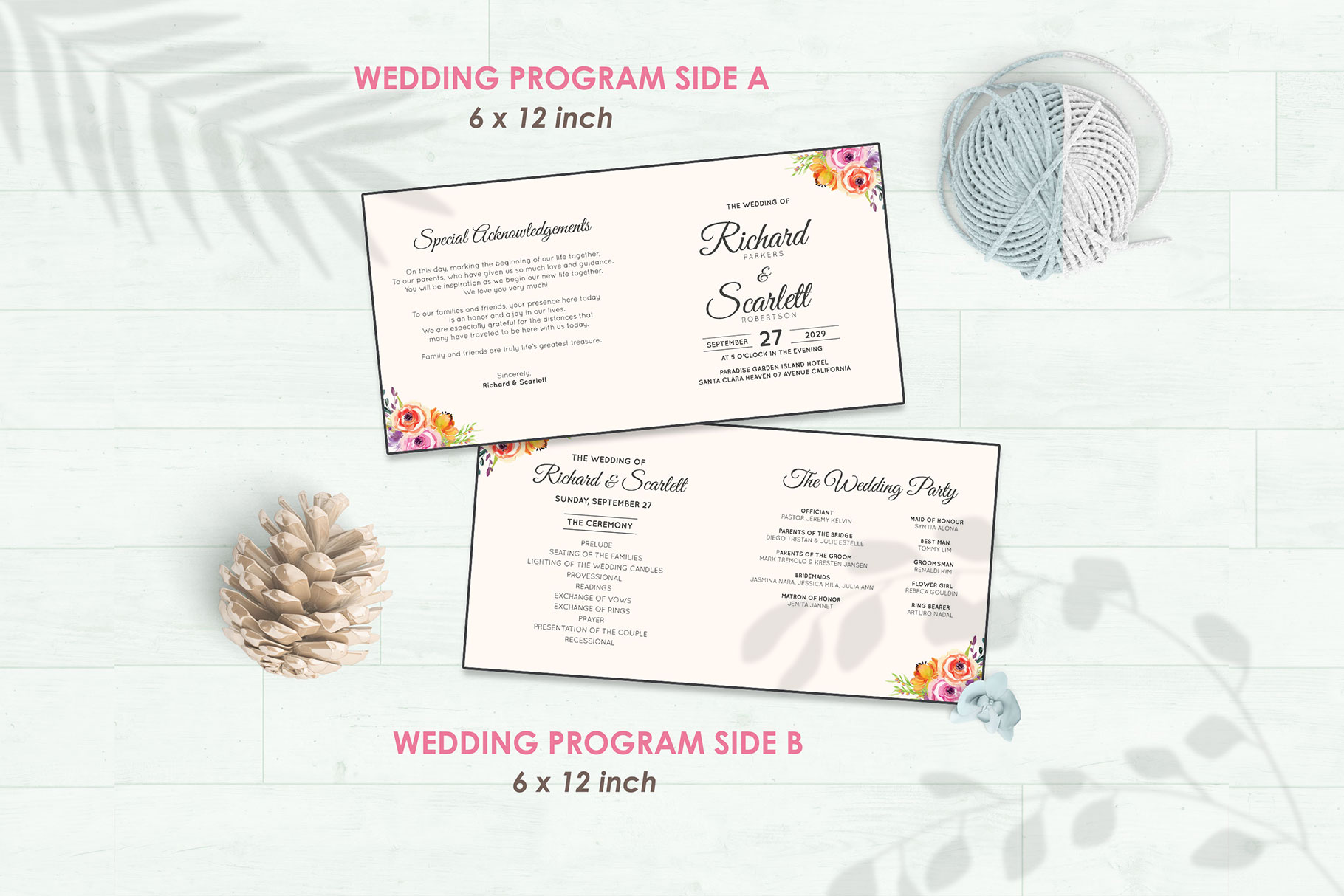 Wedding Invitation Set #5 Watercolor Floral Flower Style example image 5