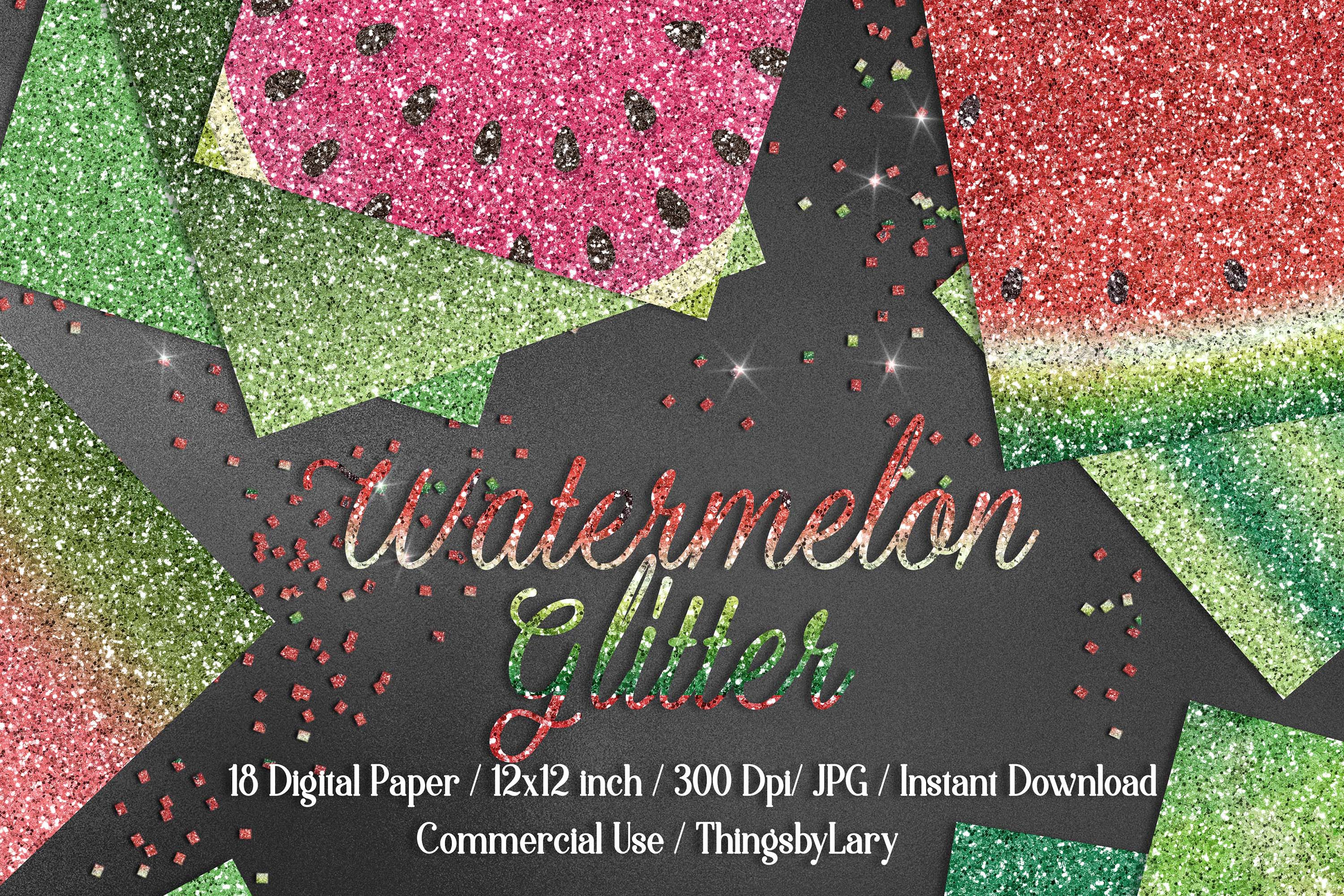 18 Ombre Pink and Lime Watermelon Glitter Digital Papers example image 1