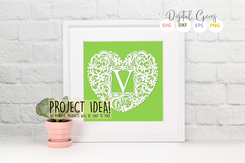 Letter V paper cut design. SVG / DXF / EPS / PNG files example image 2