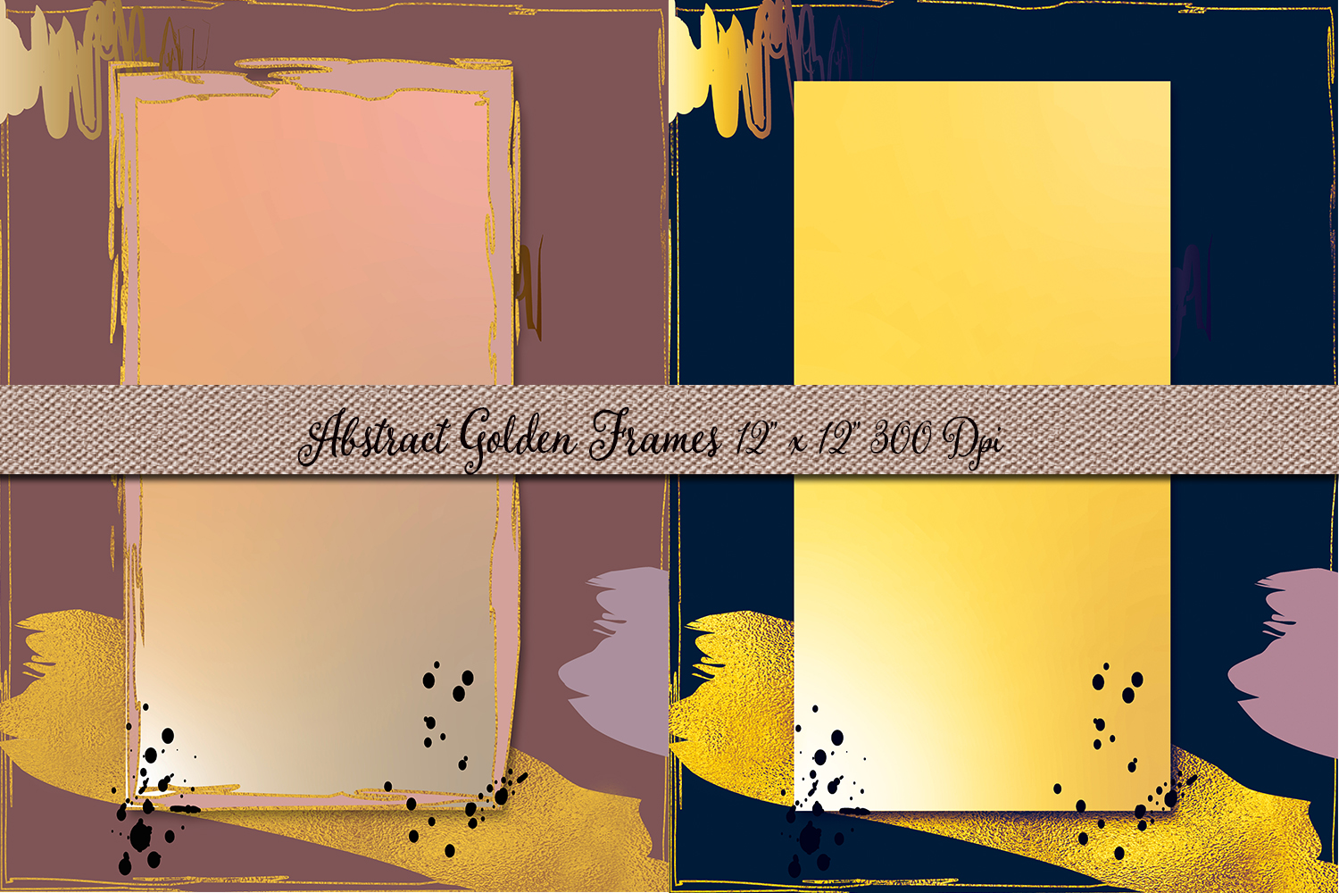Vintage Golden Textured Frames- Abstract Backdrops example image 2