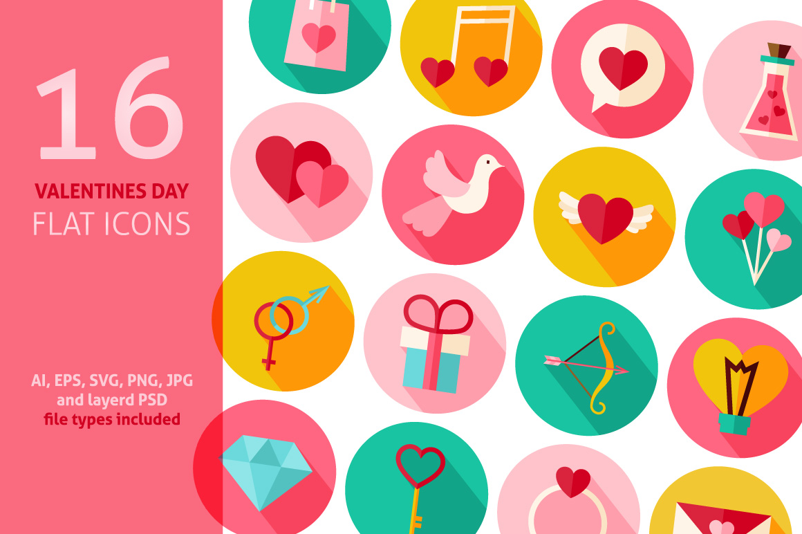 Valentines Day Vector Flat Icons example image 1