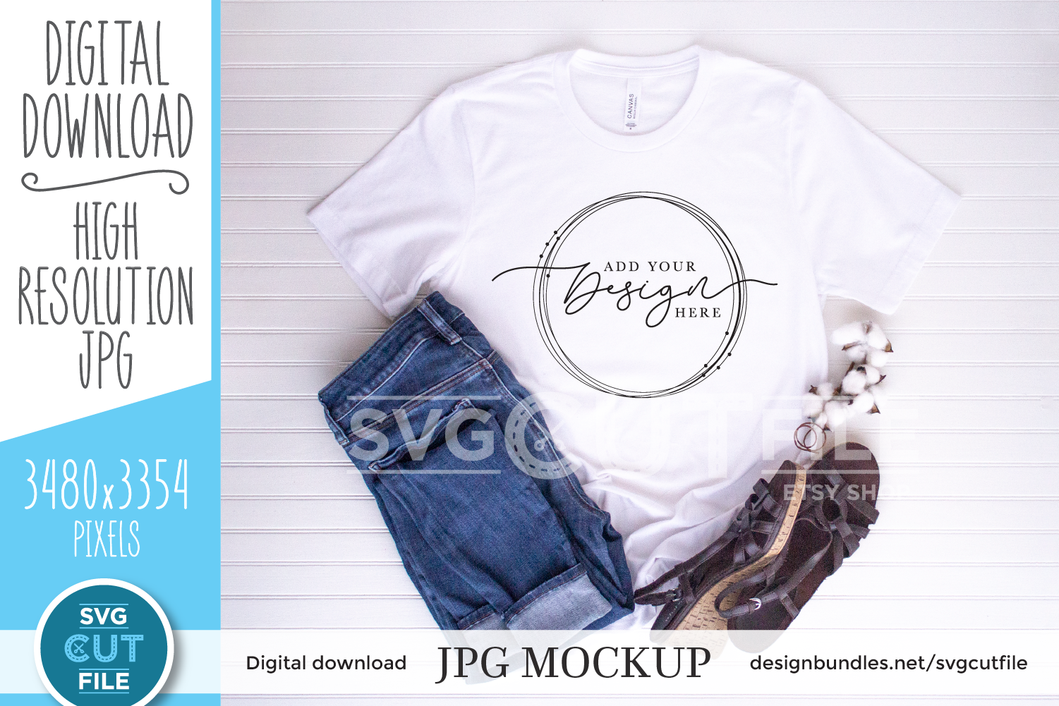 Mockup Bella Canvas 3001, white shirt jeans, cotton, sandals example image 1
