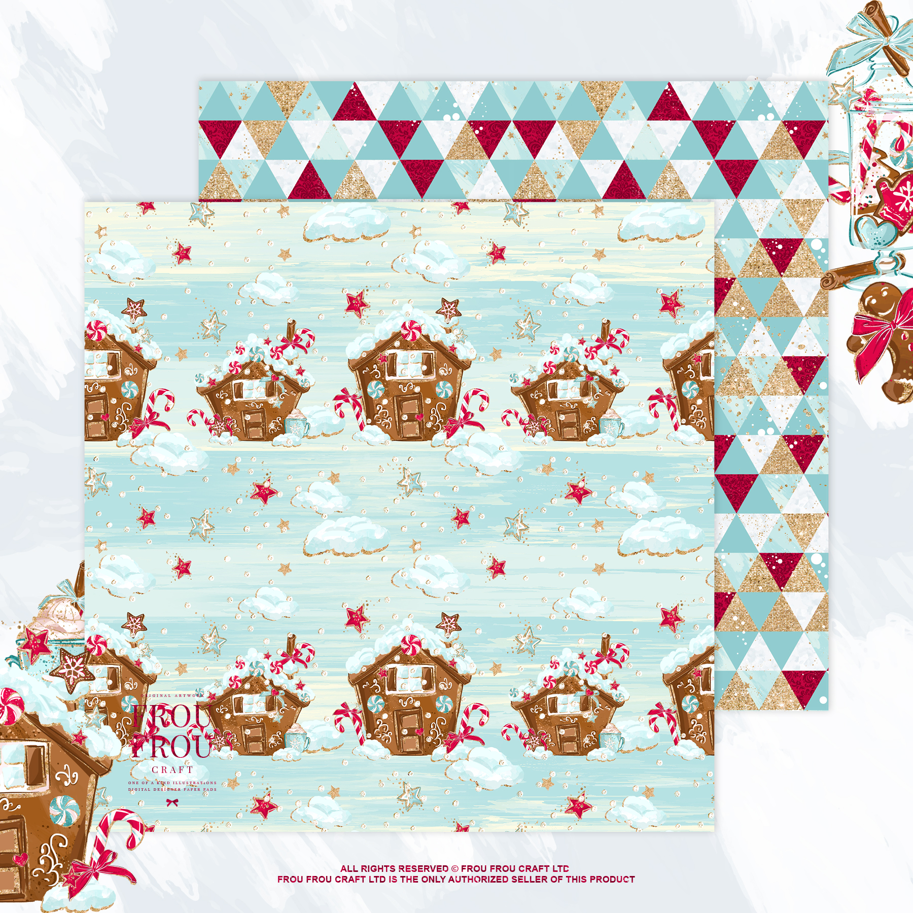Christmas Winter Ginger Bread Sugar Cane Paper Pack example image 9