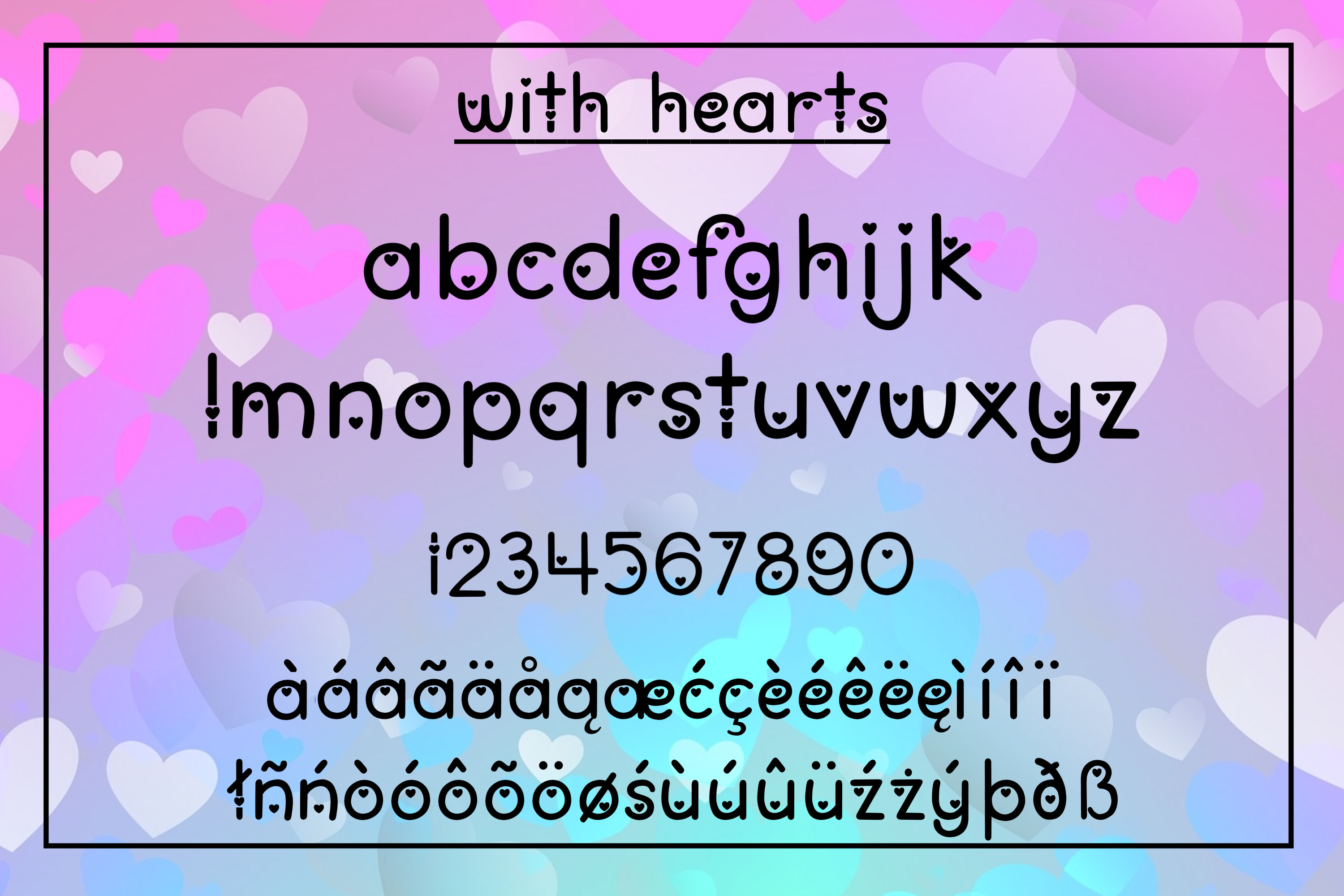 Love You Lots - a lowercase font with and without hearts example image 3