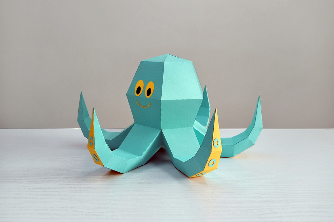 DIY Octopus Sculpture - 3d papercraft example image 5