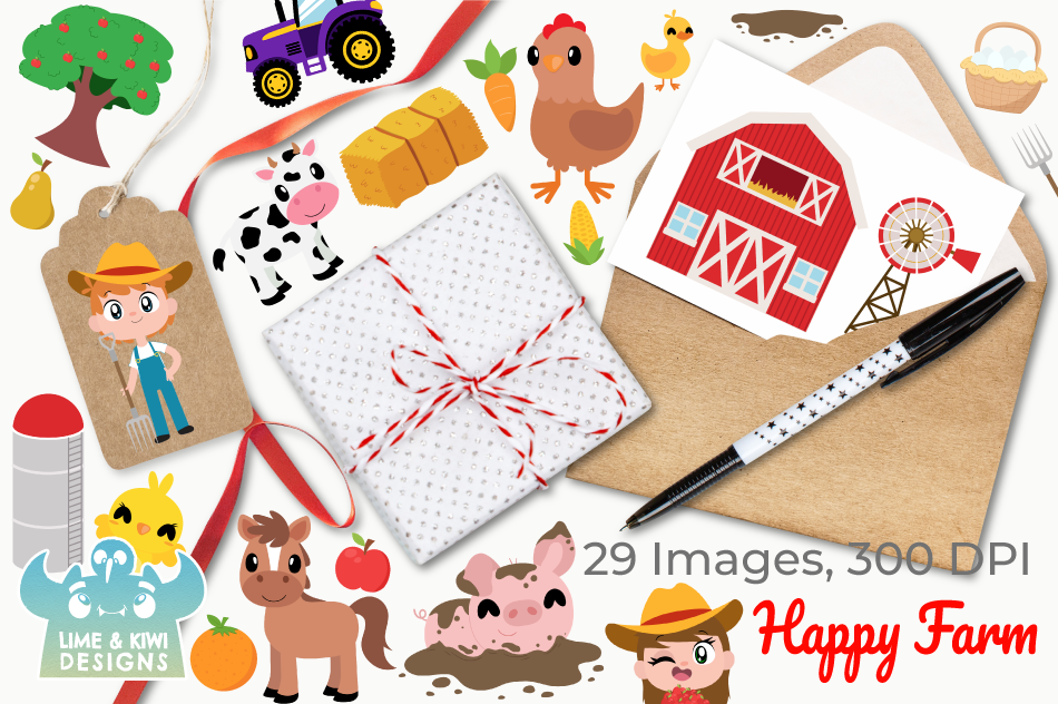 Happy Farm Clipart, Instant Download Vector Art example image 4