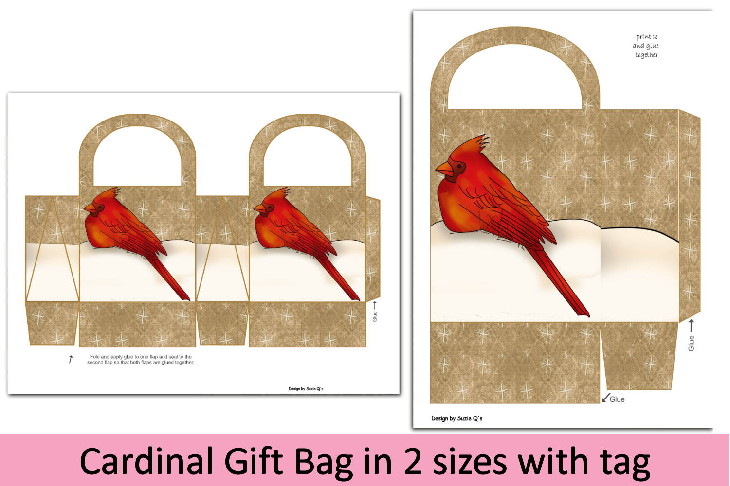 Cardinal Gift Bag in two sizes with tag example image 2