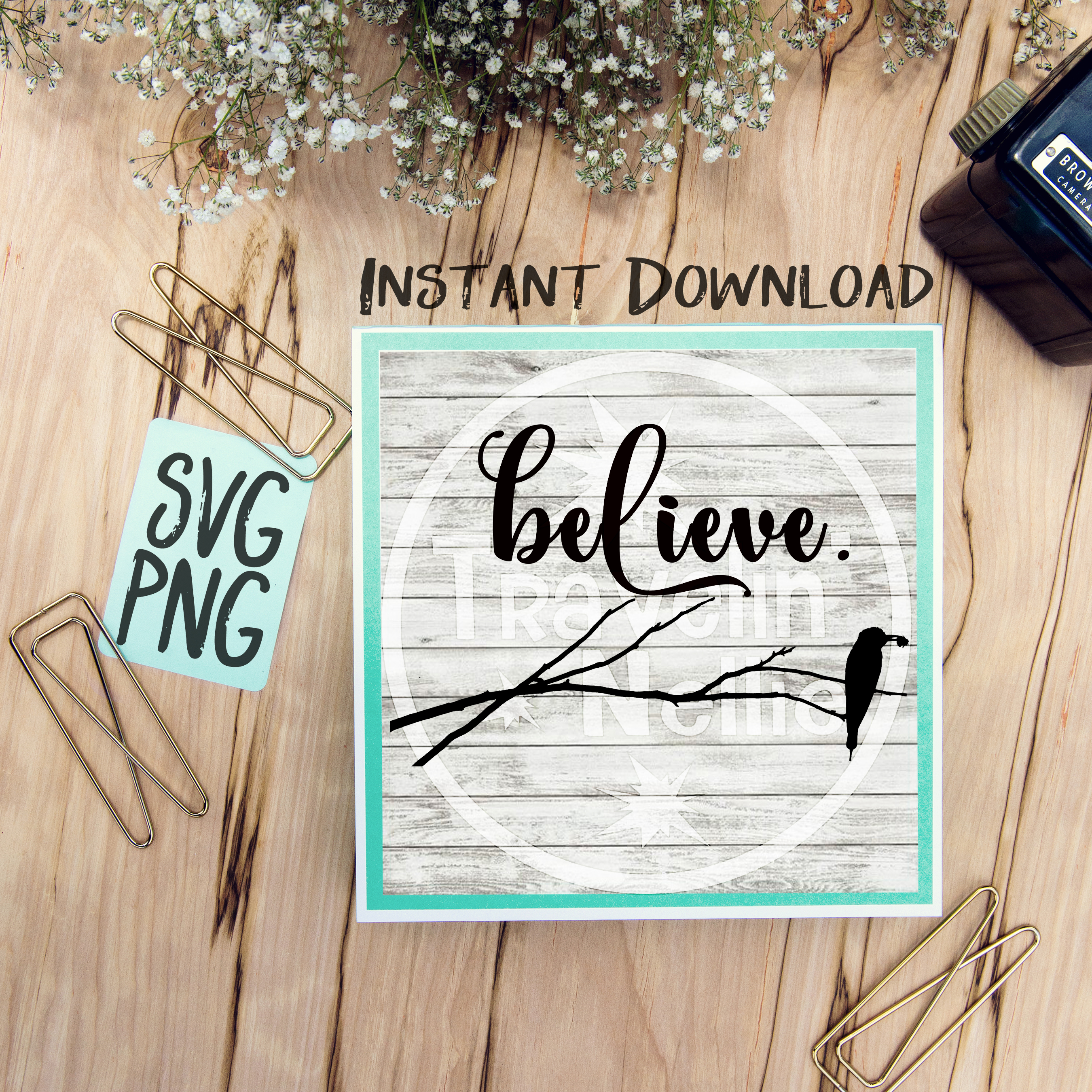 Believe SVG PNG Image Design for Cut Machines Print DIY Design Brother Cricut Cameo Cutout example image 1
