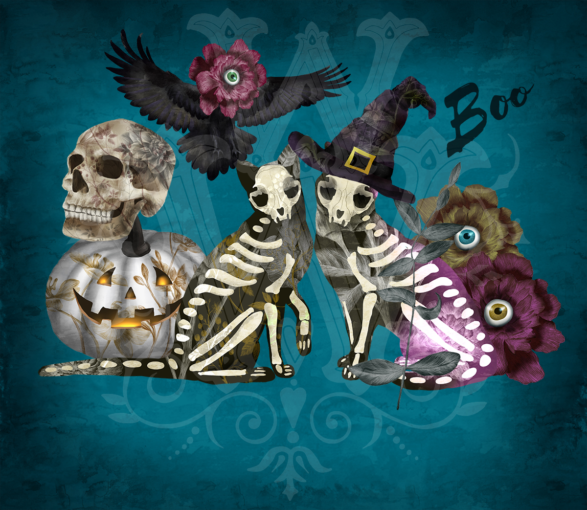 Halloween spooky clipart with skeleton cats, witch skull example image 3