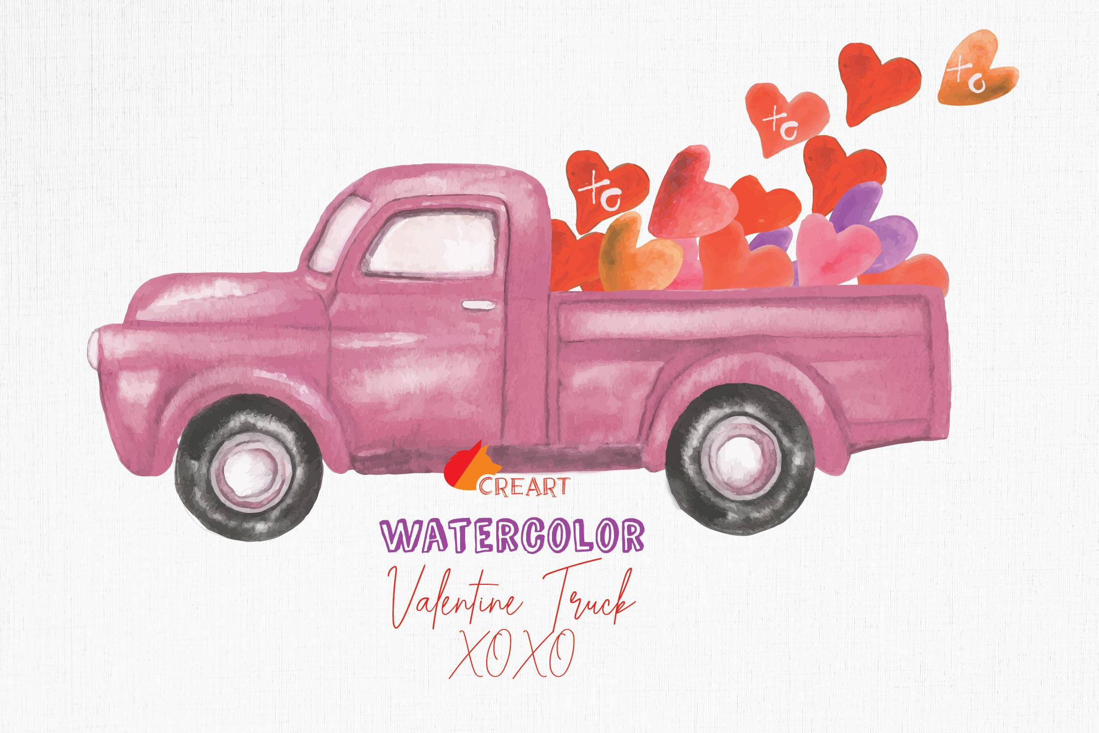 Watercolor vintage Valentine truck load with kisses XOXO png example image 1