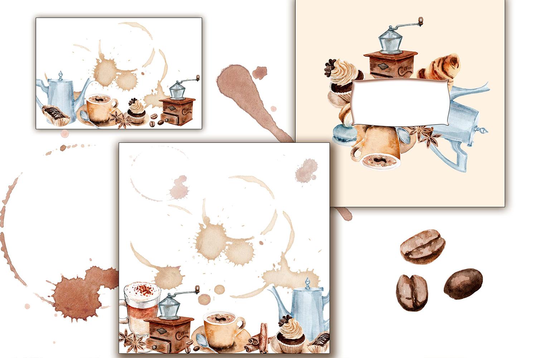 watercolor drawings coffee set example image 5