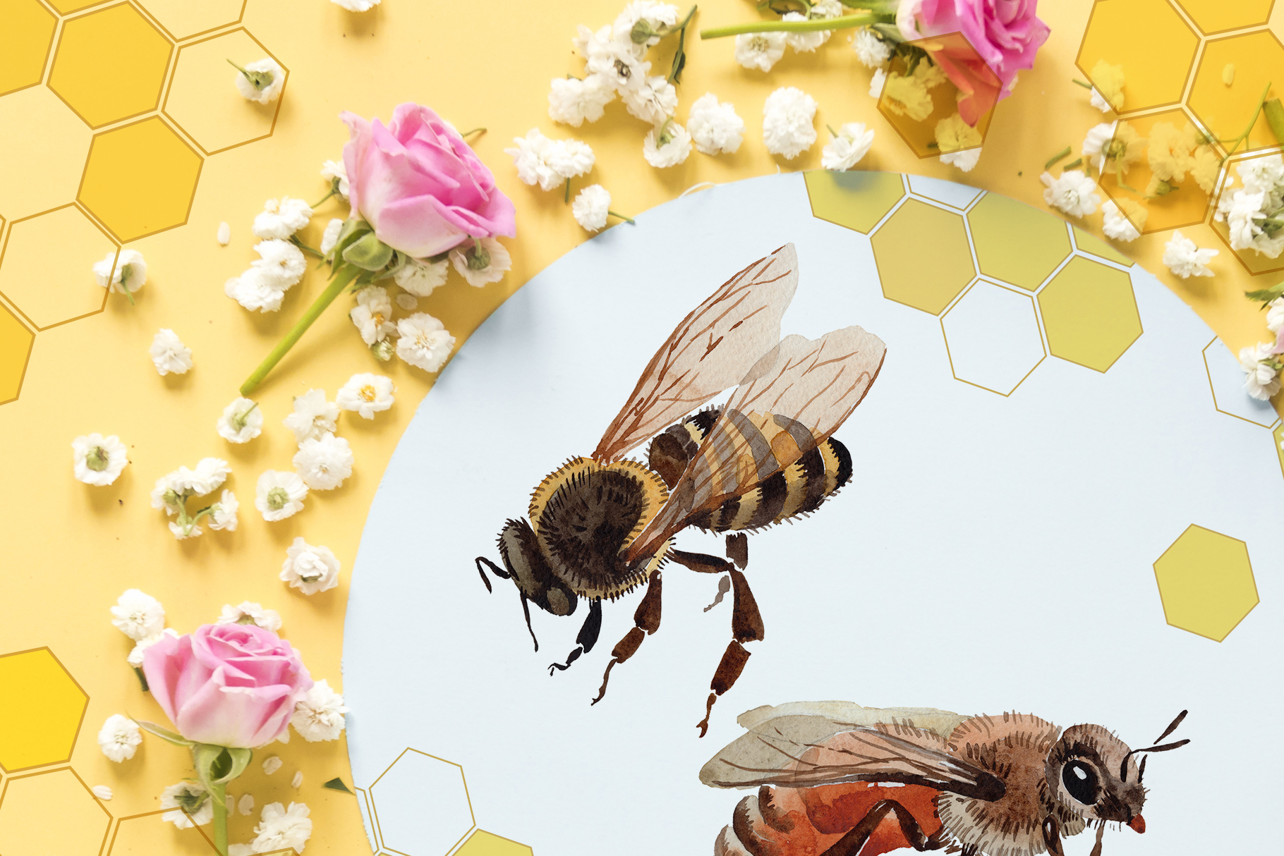 Bee Watercolor png example image 6
