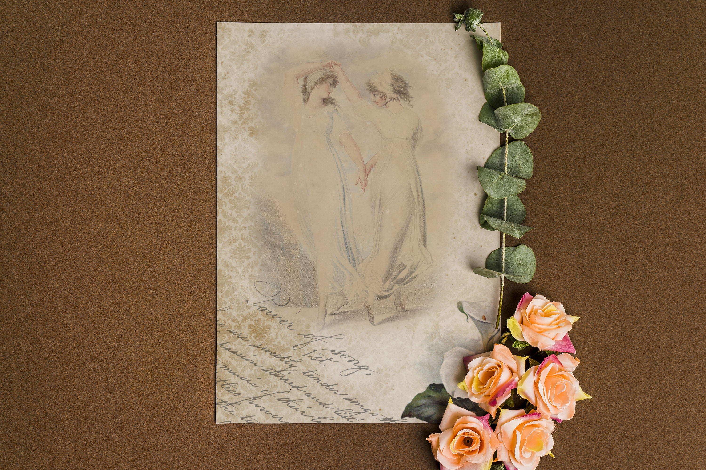 "16 Antique Ephemera Dancing Ballerina Digital Papers 8.5x11"" example image 6"
