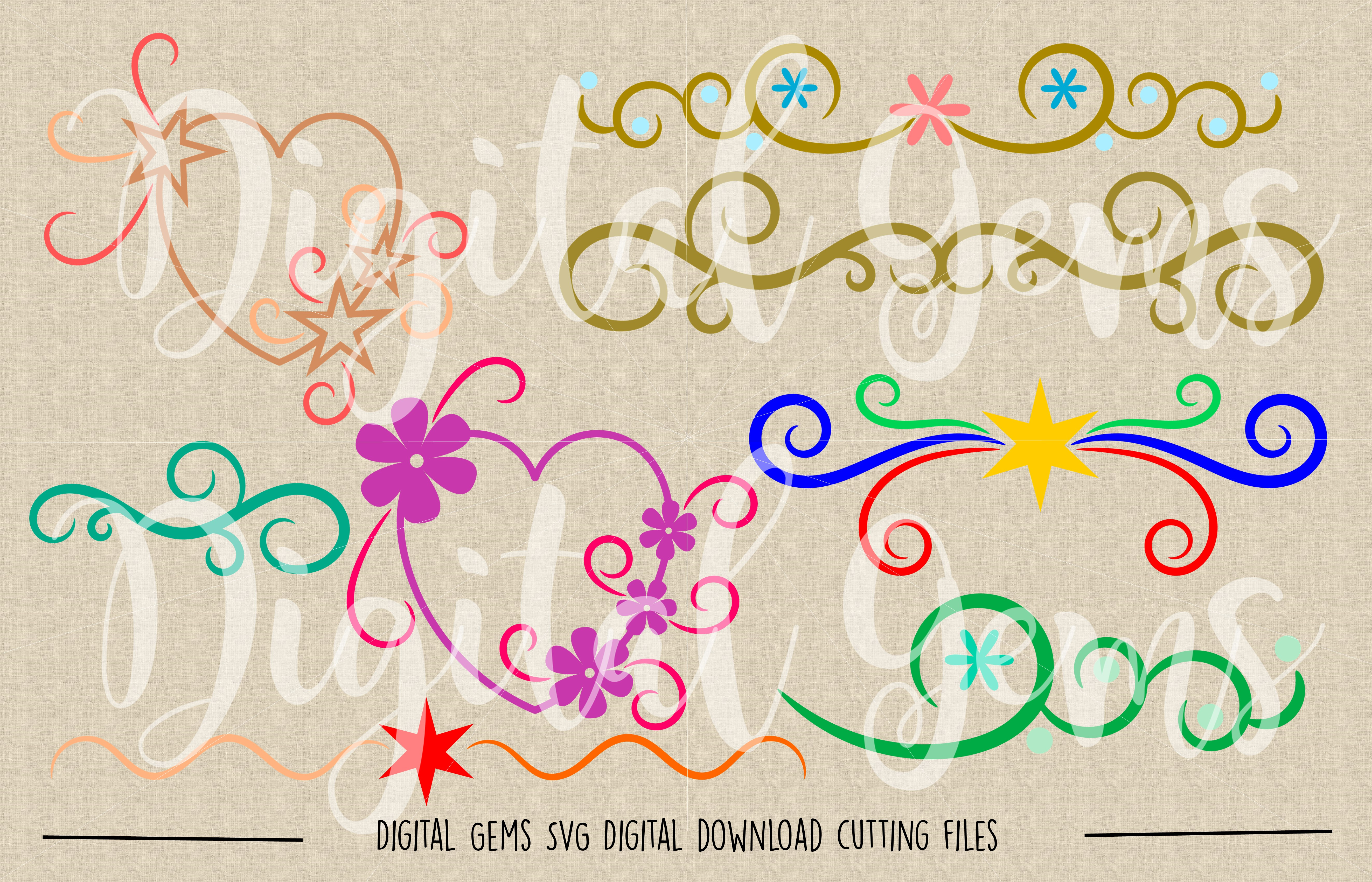 Hearts and Flourishes SVG / DXF / EPS / PNG files example image 2