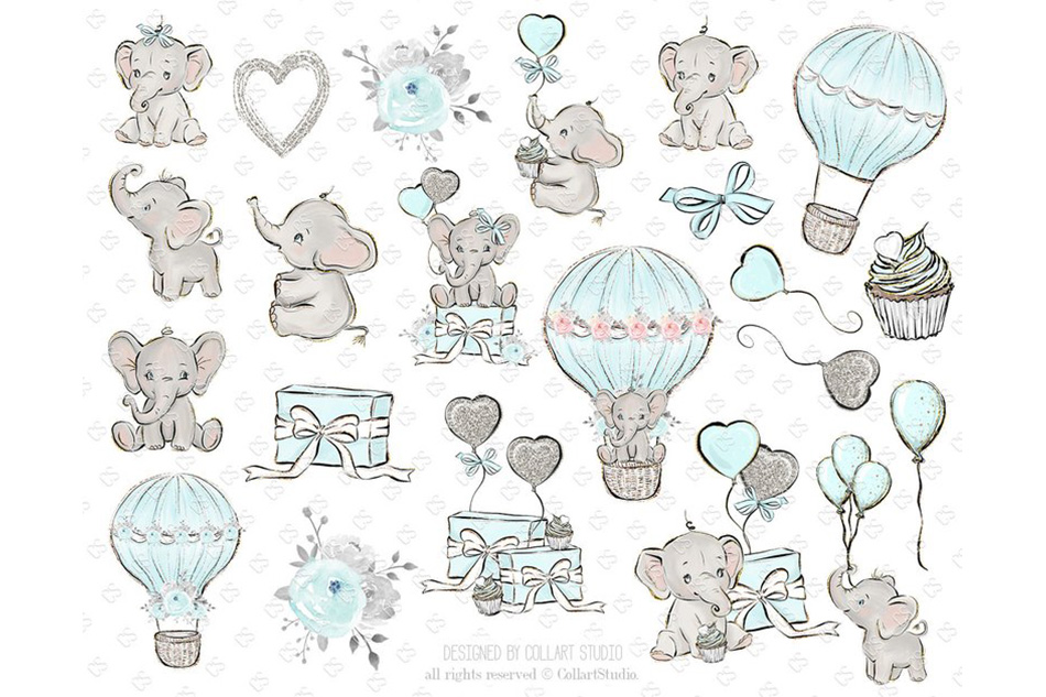 Baby Elephant clipart, Baby boy baby girl clipart, birthday example image 5