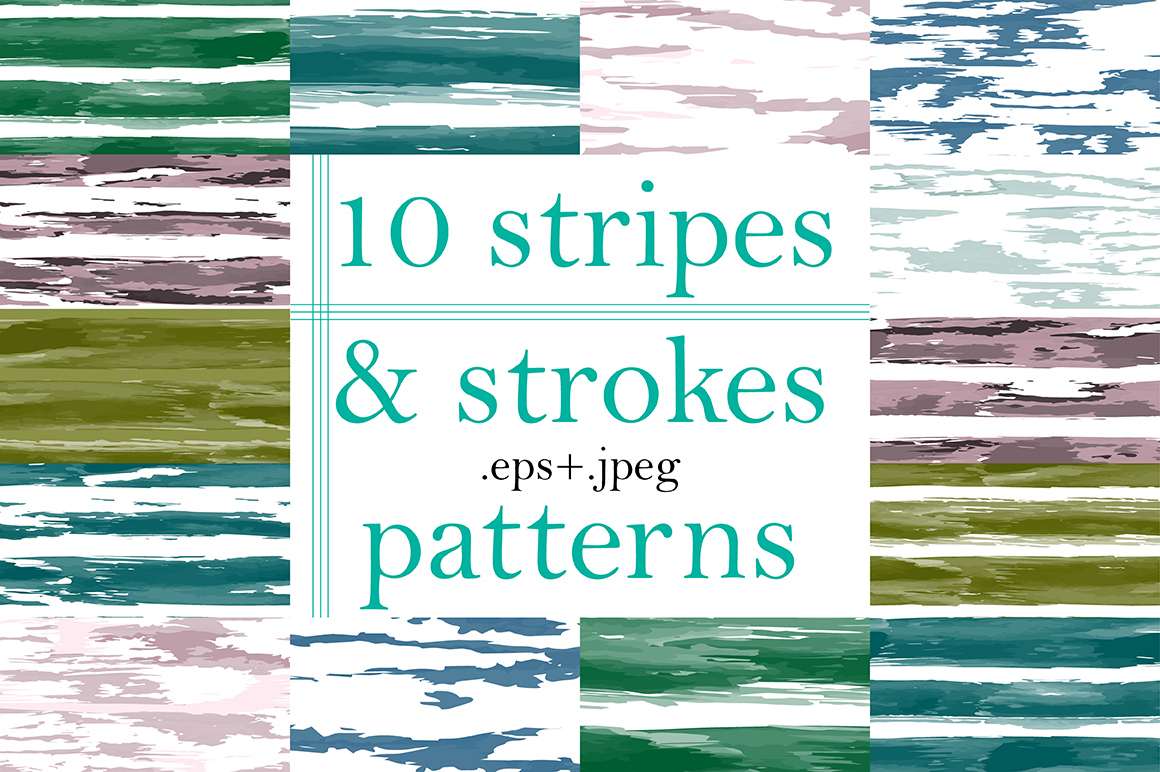10 Stripes and Strokes Patterns with hand drawn watercolor brush strokes. example image 1