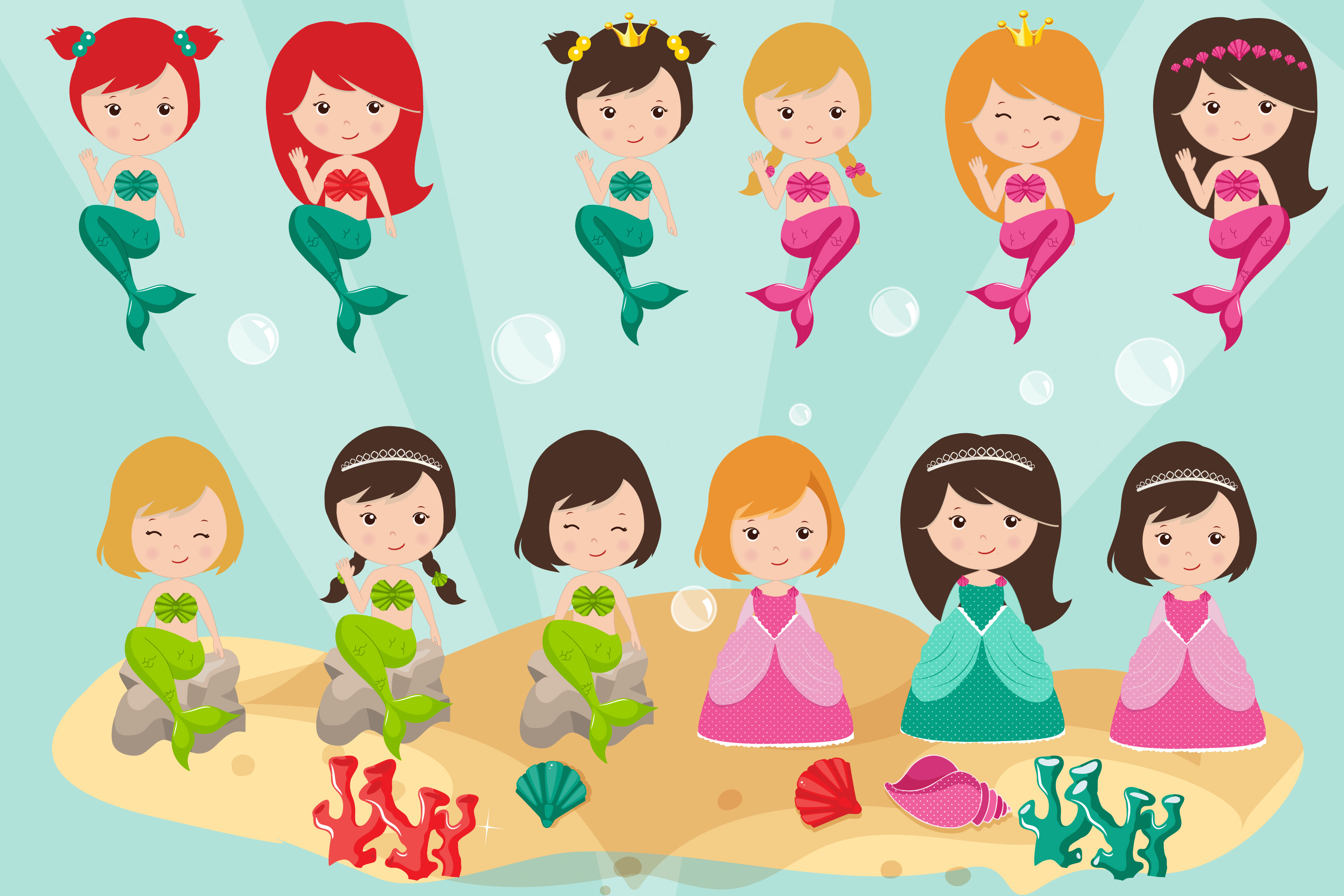 Mermaids graphics, Princess clipart set example image 3