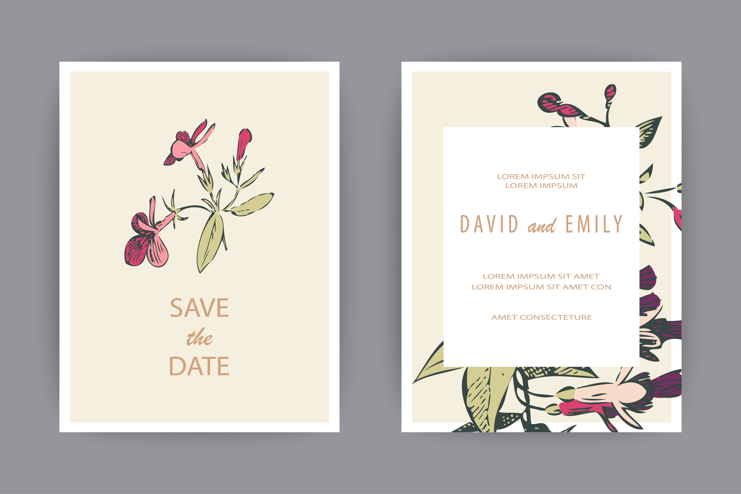 Fuchsia flowers templates for card, invitation, wedding example image 3