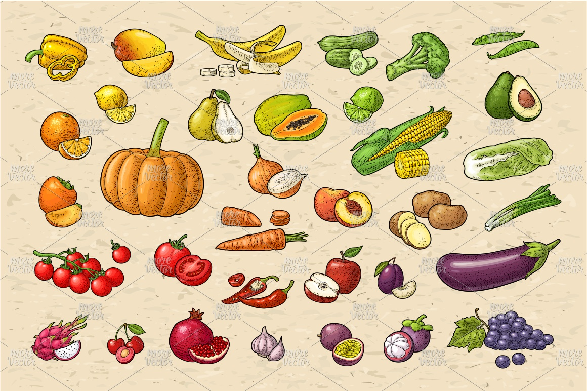 Farmers market. Set vegetables and fruits. Vector engraving example image 3