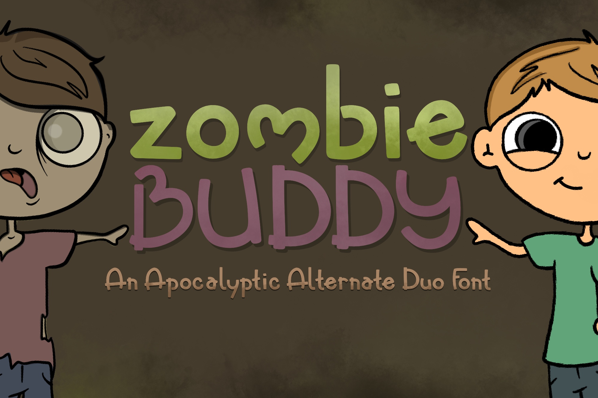 Zombie Buddy| An Apocalyptic Alternate Duo Font example image 1