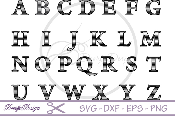 Striped Letters SVG cutting files example image 2