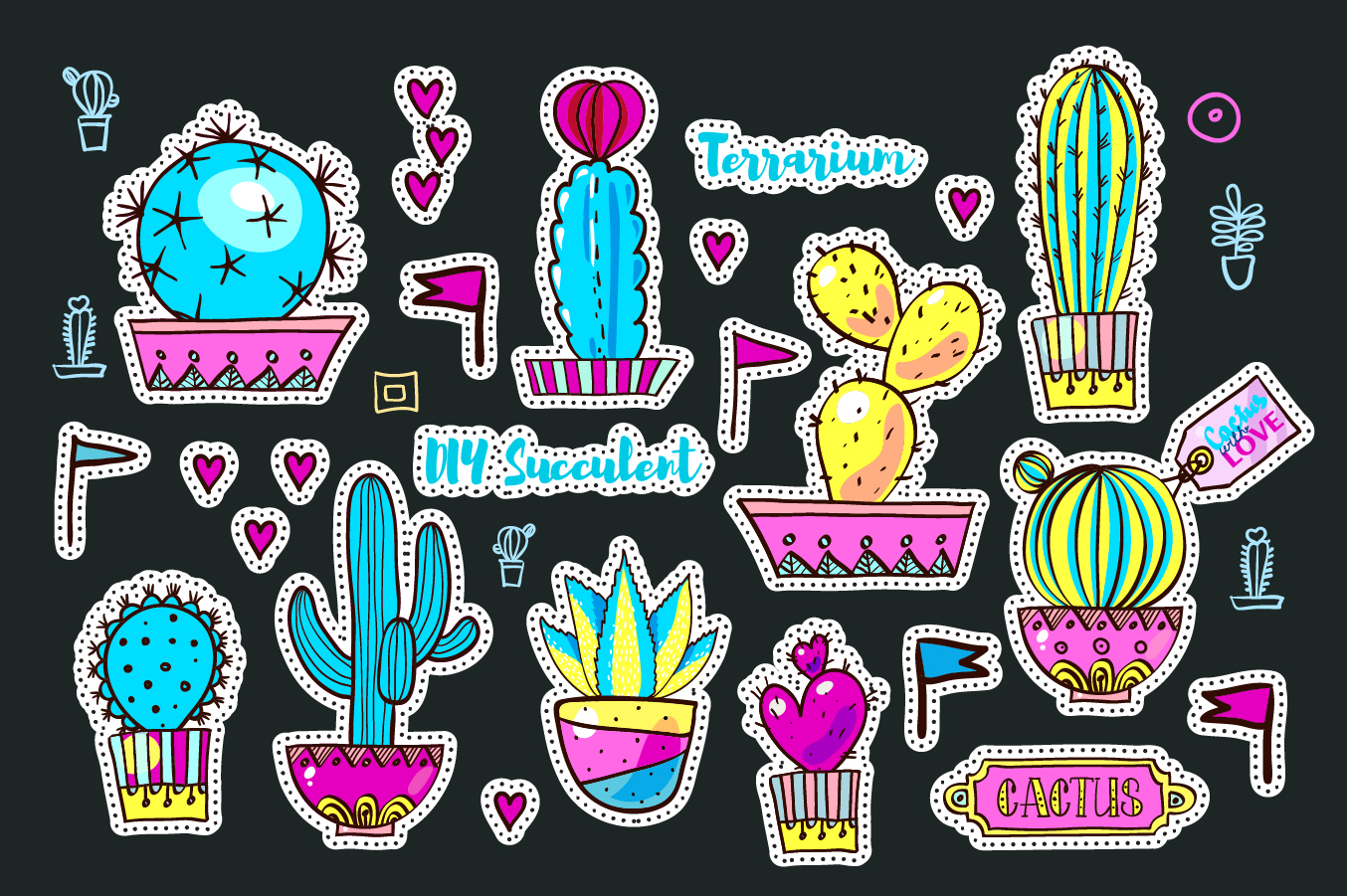 Set Fashion patches with cacti example image 7