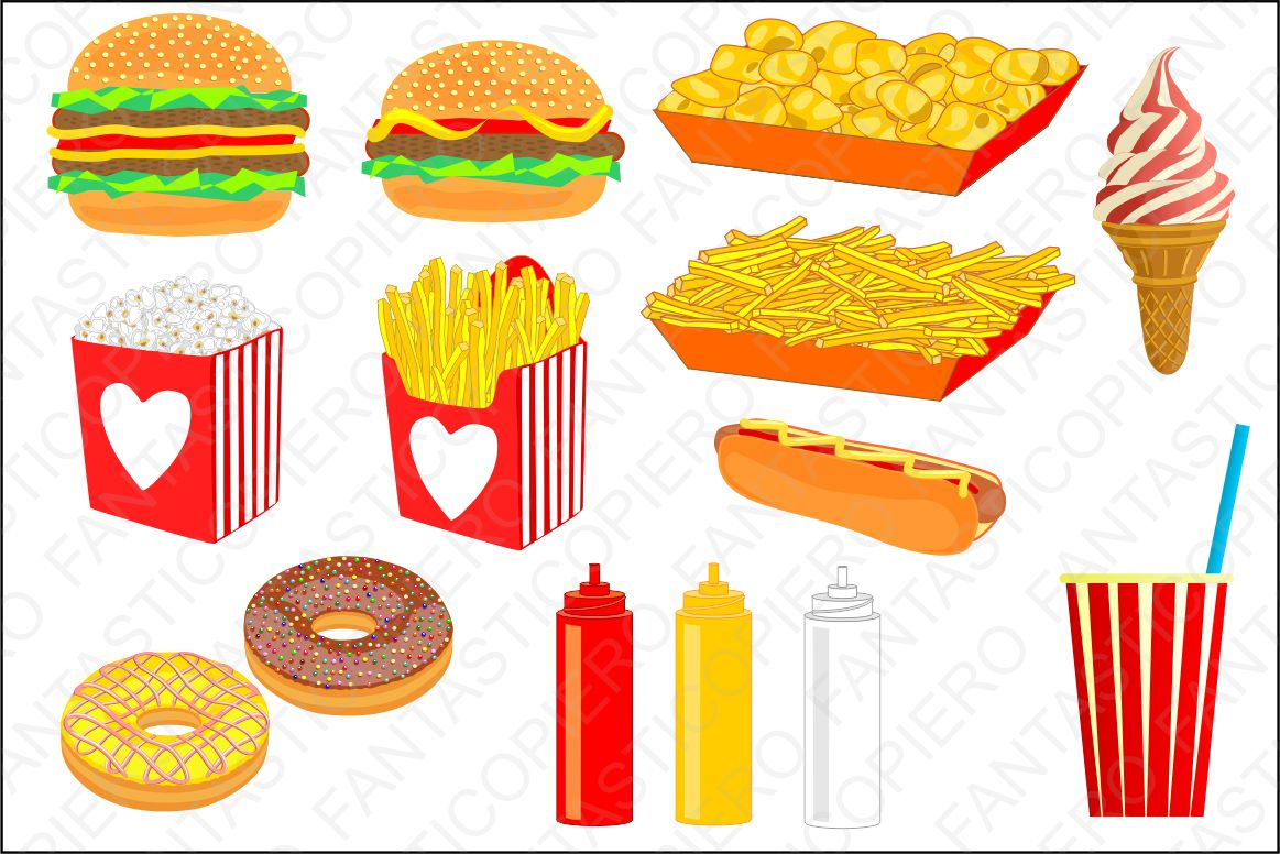 Fast food clipart JPG and PNG files. example image 1