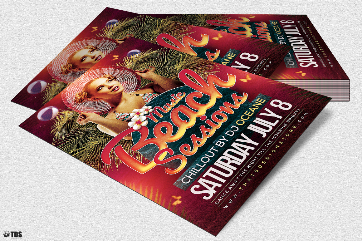 Beach Night Sessions Flyer Template example image 4