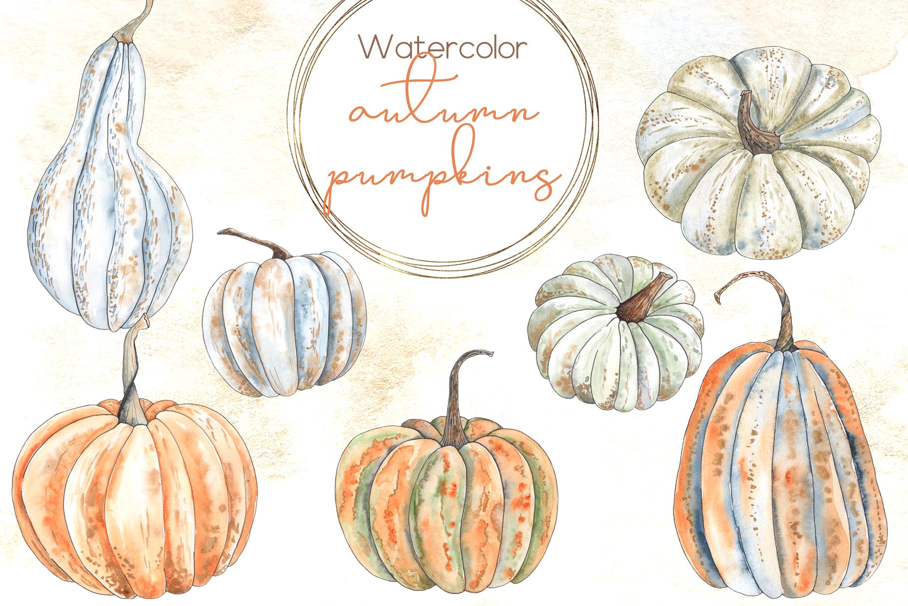 Watercolor autumn BUNDLE example image 12